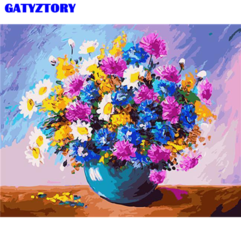 GATYZTORY Coloring Flower DIY Painting By Numbers Oil Painted Handmade Gift Kits Acrylic Modern Wall Art For Home Decor