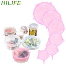 HILIFE 6 шт Силиконовые растягивающиеся многоразовые крышки, пищевая обертка, сохраняющая свежесть, уплотнение, сковорода, миска, крышка, кулинарные кухонные принадлежности