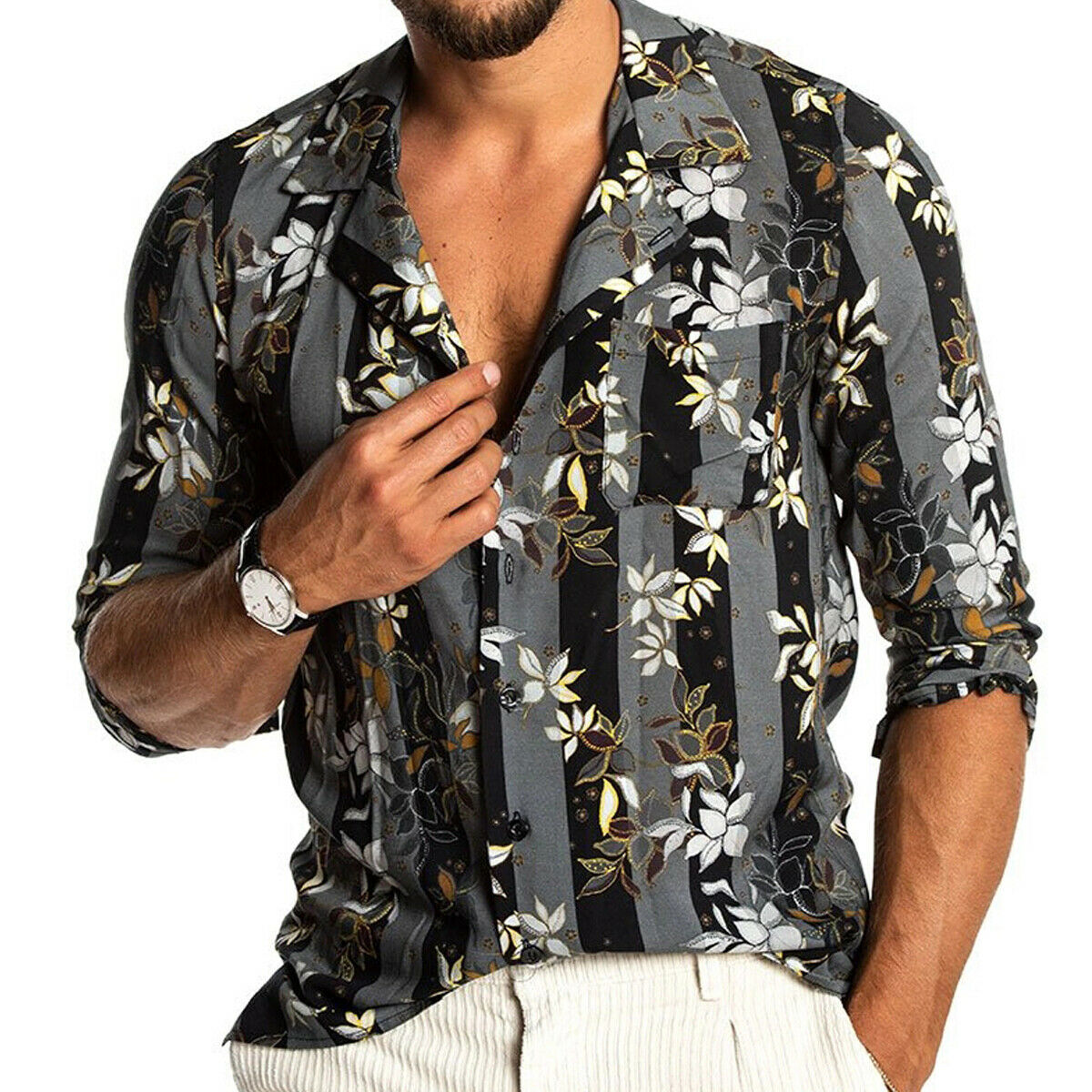 Fashion Summer Mens Hawaiian Shirt Beach Style Floral V Neck Casual Shirts Blouse Hawaii Aloha Party Summer Holiday Fancy Tops
