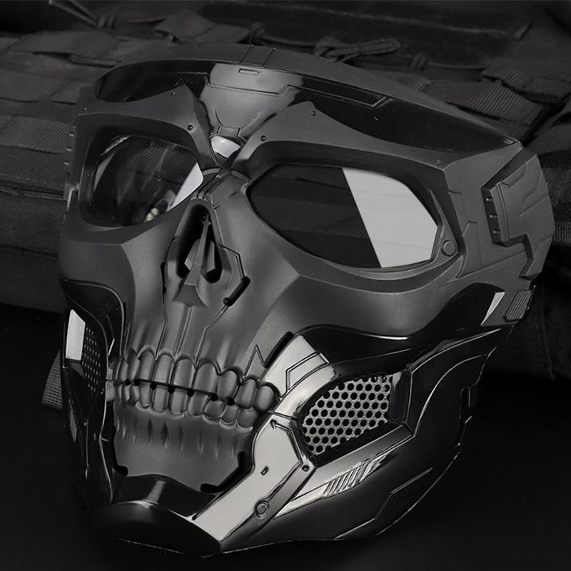 ยุทธวิธี Paintball Skull หน้ากากกลางแจ้ง Breathable การล่าสัตว์ยิงกะโหลกหน้ากากทหาร Full Face ความปลอดภัย Airsoft Paintball ห...