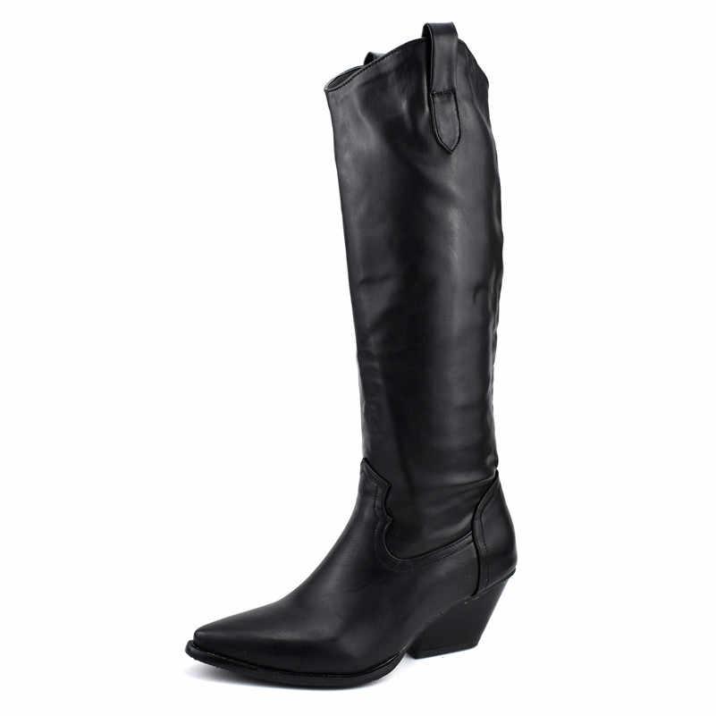 Meotina Winter Knie Hoge Laarzen Vrouwen Slop op Spike Hoge Hakken Westerse Laarzen Wees Teen Lange Schoenen Vrouwelijke Herfst Zwart maat 4-12
