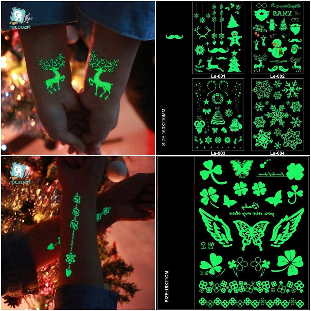 Flower Icons Cicatrice Halloween Luminous Fake Body Tattoo Hand Taty Sign Tatuagem Glowing In Dark Face Temporary Tattoo Sticker