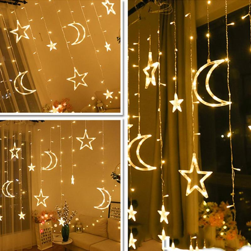 220v Moon Star Lamp LED Lamp String Ins Christmas Lights Decoration Holiday Lights Curtain Lamp Wedding Neon Lantern 2019  New