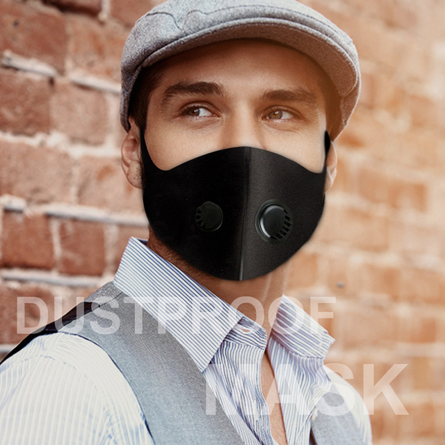 1 pc Breathable Air Purifying Face Mask Washable Black Health Mask with pads for Outdoor Running Cycling Reusable Anti-dust Mask 1