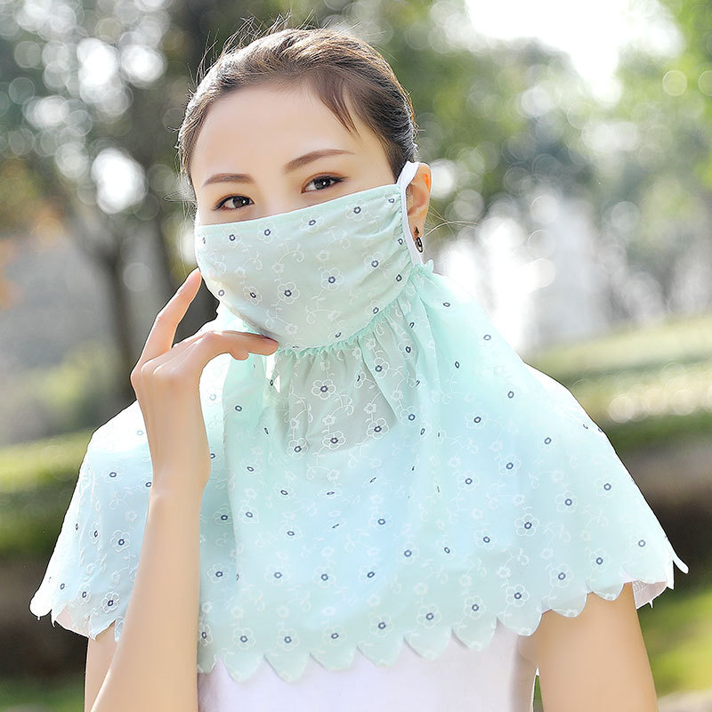 New Female Sun Mask With Neck Guard UV-resistant Enlarged Mask Summer Thin Breathable Sunshade Veil