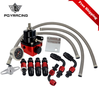 Free Shipping Black&Red Universal fpr AN6 Fitting fuel pressure regulator For 7MGTE MKIII with hose line.Fittings.Gauge 7842BKRD