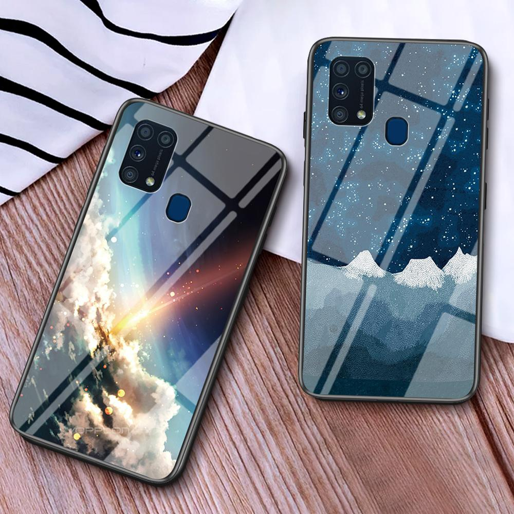 Starry Sky Tempered Glass Case For Samsung Galaxy M31 A41 A70e M80S A01 A21 S20 Ultra A51 A70S A10E A40 A60 A50s A20s M30s Cover