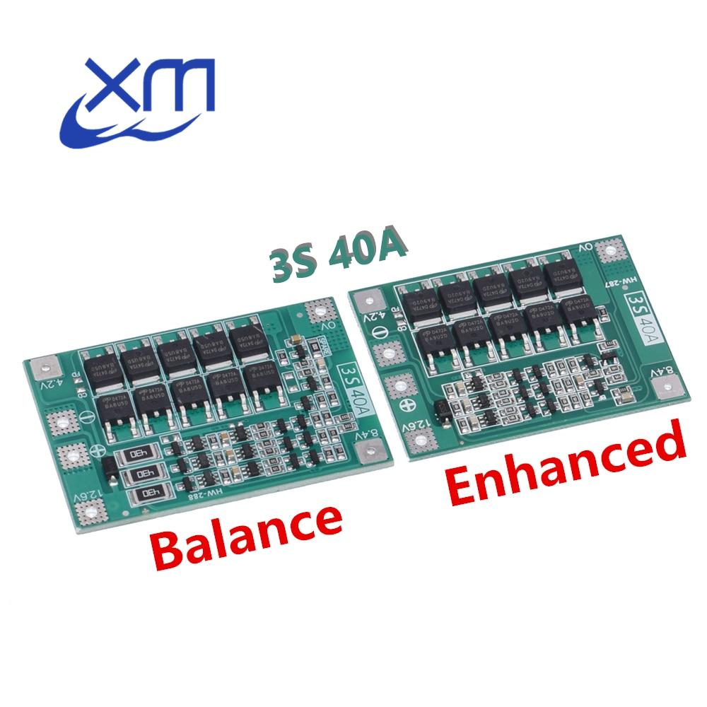 Защитная плата PCB BMS для зарядки литий-ионных батарей 3S 40A, 10 шт., для двигателя перфоратора 40A, модуль ячейки Lipo 11,1 В 12,6 В