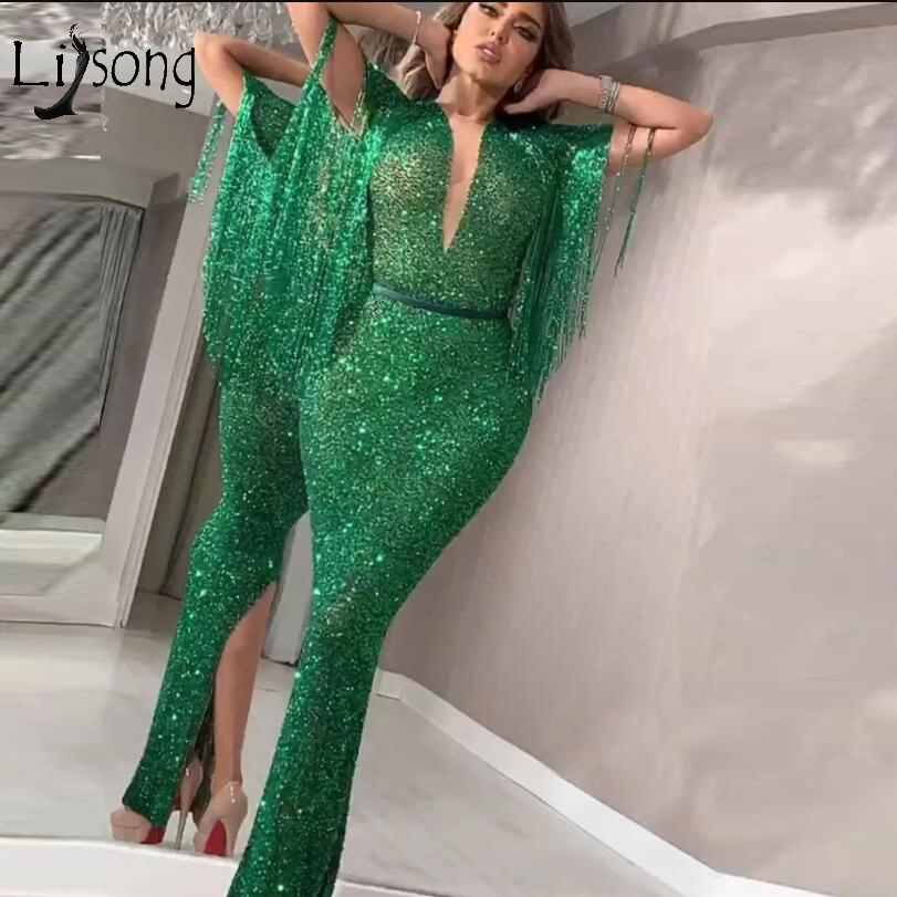 Sparkle Emerald Green Mermaid Prom Dresses 2019 With Tassel Back Split Sexy Prom Gowns Deep V-neck Robe De Soiree