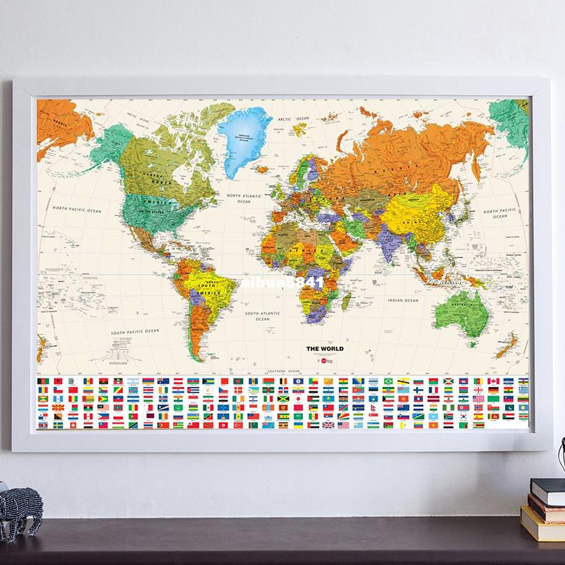 1pcs Canvas Vintage World Map Of Country Flag Retro Oil Painting 180x122cm National Flag Poster Size Wall Decoration 180 X 122