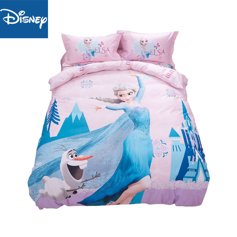 New Bed line Set Disney Frozen Elsa Blanket Duvet Pillow Cover Twin Bed Single