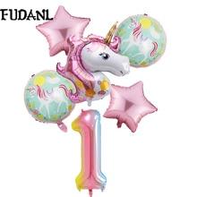 6 Stks/partij Eenhoorn Ballon Regenboog Gradiënt 32 Inch Nummer 1 2 3 4 5 6Th Jongen En Meisje Verjaardag Bruiloft party Ballonnen Decoraties