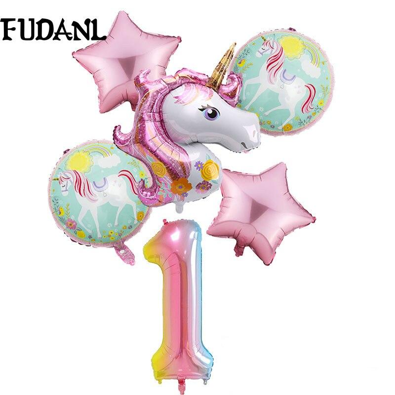 6 pçs/lote Balão Unicórnio Do Arco Íris Gradiente 32 polegadas Número 1 2 3 4 5 6Th Menino e Menina Balões de Festa de Aniversário de Casamento Decorações