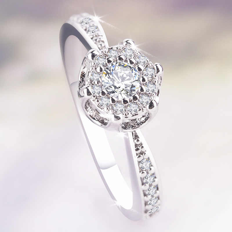 Fashion new ladies ring micro-inlaid zircon stone shiny crystal flower ring female wedding dress design ring jewelry