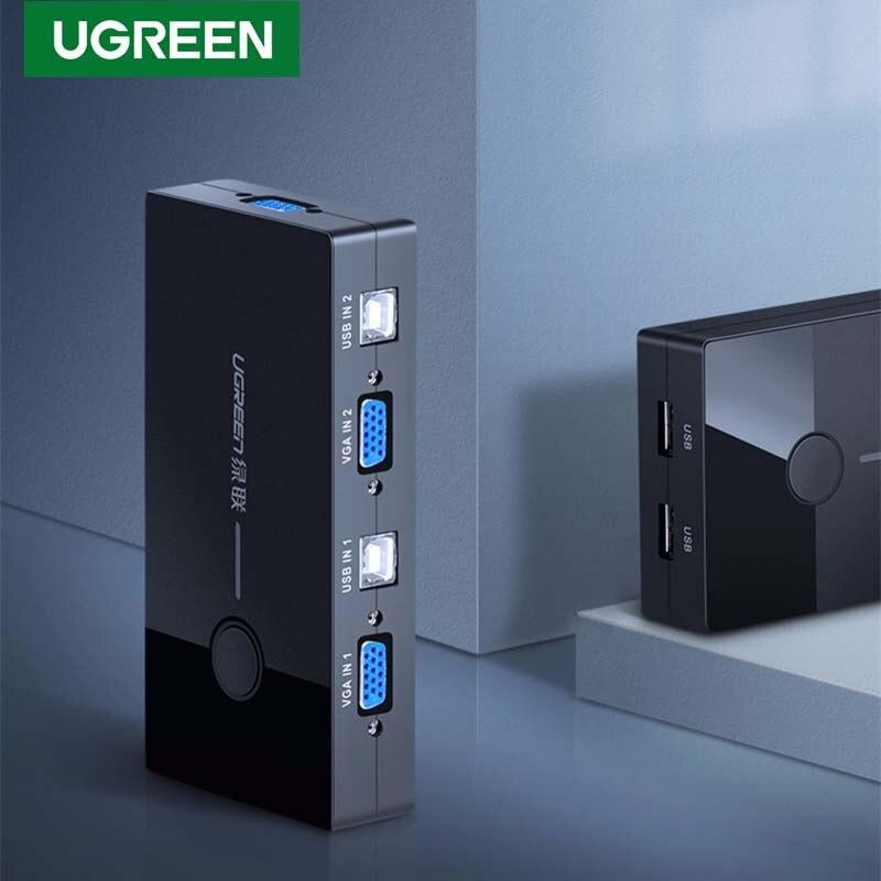 Commutateur Ugreen HDMI VGA KVM commutateur USB 2 ports 4K commutateur KVM 60Hz pour le partage de l'imprimante clavier souris TV KVM Spliiter VGA commutateur