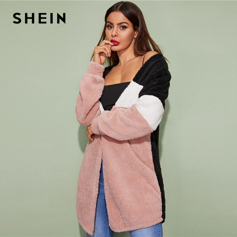 SHEIN Multicolor Cut-And-Sew Open Front Casual Winter Teddy Coat Women Streetwear Long Sleeve Ladies Colorblock Stretchy Outwear