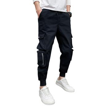 Wypoczynek męskie spodnie bojówki modne luźne spodnie dresowe męskie spodnie Jogger elastyczne spodnie w stylu hip hop męskie spodnie wysokiej jakości tanie i dobre opinie VOLGINS Cargo pants Mieszkanie Poliester COTTON NONE REGULAR Pełnej długości Na co dzień Midweight Suknem Elastyczny pas