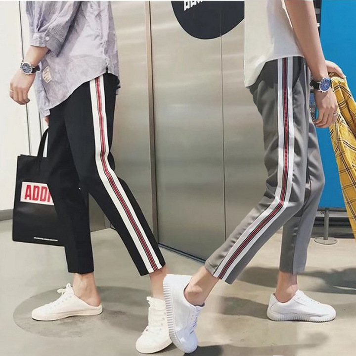 Literature And Art MEN'S Ninth Pants MEN'S Trousers Summer New Style Ribbon Versatile Korean-style Trend Casual Pants 9 Points A