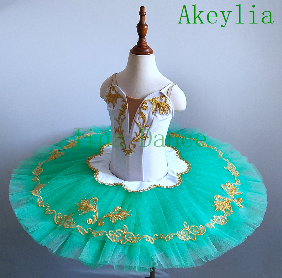 Newest child white Green Ballet Tutu Stage Costumes Girls Pancake Green Fairy Professional Tutus for girls stage dress