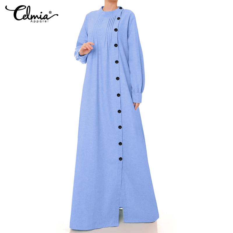 Vintage Linen Dress Women Fashion Long Shirt Vestidos Robe Celmia 2019 Autumn Lantern Sleeve Female Buttons Casual Loose Dress 7
