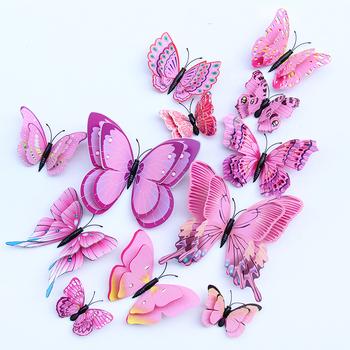 12 sztuk Multicolor dwuwarstwowe skrzydła 3D naklejka na ścianę z motylem magnes pcv motyle Party Kids sypialnia lodówka Decor magnetyczny tanie i dobre opinie heatboywade 3d naklejki Duszpasterska Do płytek Do lodówki Naklejki okienne Na ścianie Wielu kawałek pakiet WALL H002