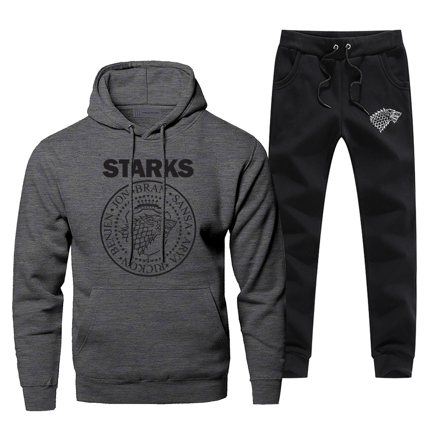 Game Of Thrones Sportsman Wear Fashion Comfortable House Stark Male Set Casual Hipster Wolf Arya Stark Pants Sweatshirt Men Suit