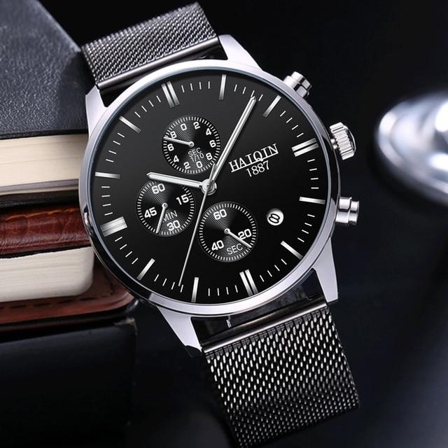 Haiqin 2019 relógios masculinos, moda mecânica homens relógios top marca de luxo esporte relógio de pulso homens à prova d água relógio de quartzo masculino