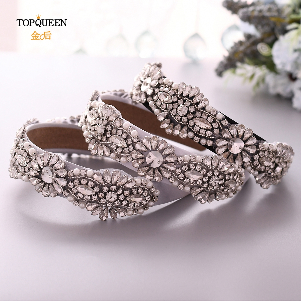 TOPQUEEN S237-FG Wedding Rhinestone Broque Headband Bridal Tiara Headpieces Silver Rhinestone Headband Wedding Hair Jewelry