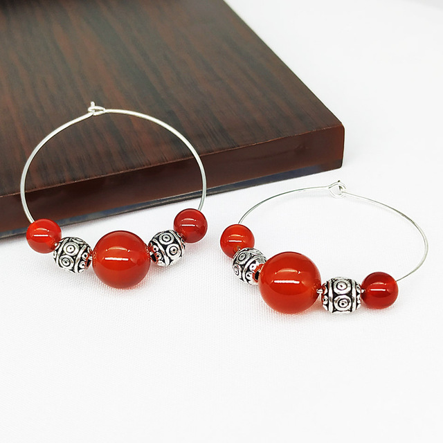 SHELA Red Carnelian Trendy Hoop Earrings for Women 2019 Green White Stones Pendientes Tibetan Silver beads.jpg 640x640 - SHELA Red Carnelian Trendy Hoop Earrings for Women 2019 Green White Stones Pendientes Tibetan Silver beads big circle 35mm
