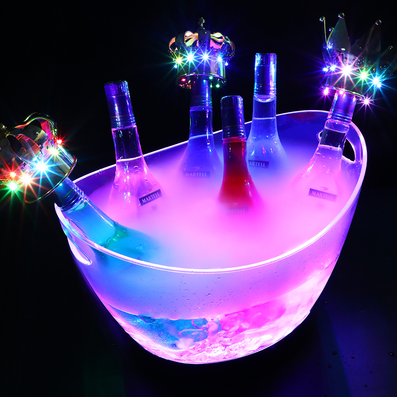 Led Luminous Ice Bucket Plastic Beer Barrel Ice Bucket Barrel Ingot Ice Bucket Bar Large Luminous Champagne Bucket Ice Bucket