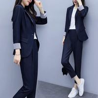 Korean Style Ladies Workwear Pant Suits for Women Office Uniform Blazer Set Spring Autumn Female Casual Suite 2 Piece Outfits