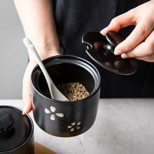 Ceramic Household Seasoning Jar with Lid Spoon Japanese Creative Seasoning Jar Kitchen Sugar Bowl MSG Jar Salt Shaker