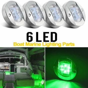12V-24V DC 4 Uds ABS plástico redondo 6-LED luces de navegación Stern Deck Luz de cortesía para el Kayak marino del barco Accesorios