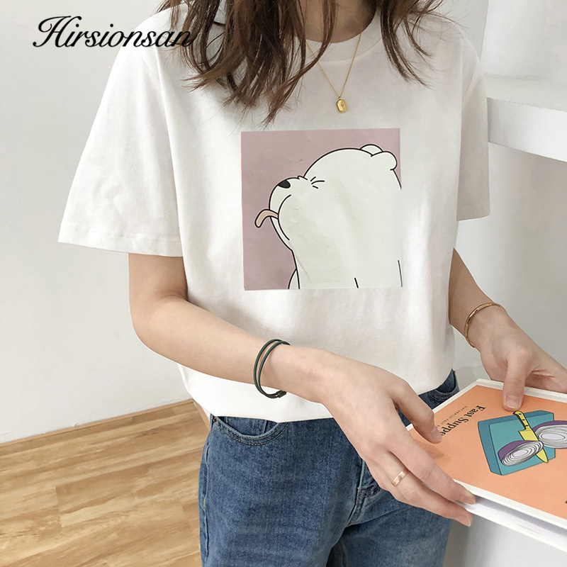 Hirsionsan 100% Cotton T Shirt Women Female Kawaii Bear Print Soft Clothes Oversized Tops Casual Ins 2020 Harajuku Chic Tees