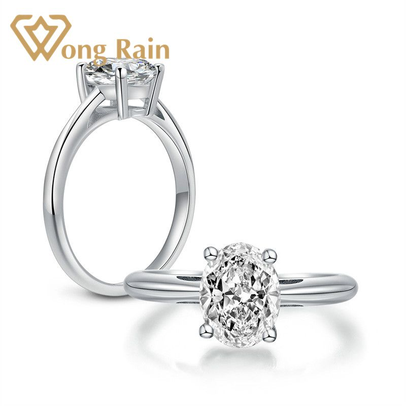 Wong Rain 100% 925 Sterling Silver Oval Created Moissanite Gemstone Diamonds Wedding Engagement Ring Fine Jewelry Wholesale