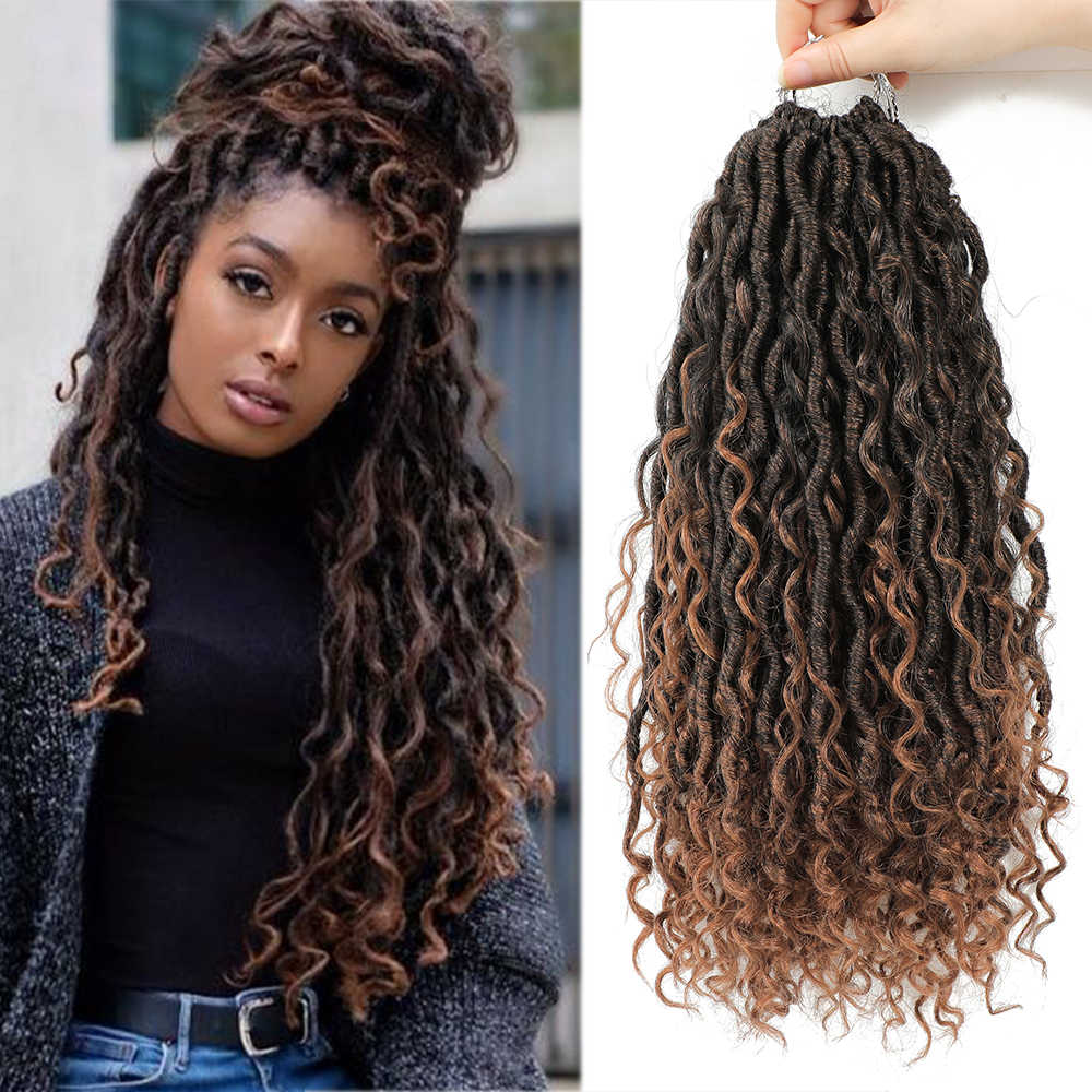 X-TRESS Synthetic River Goddess Locs passion Twist Crochet Braiding Hair Extension Natural Ombre Brown Faux Locs With Curly Hair