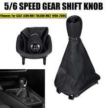 Botão do deslocamento de engrenagem do carro cabeça 5/6 velocidade alavanca de mudança de engrenagem vara com gaitor boot capa para seat leon mk1 para toledo mk2 1998-2005