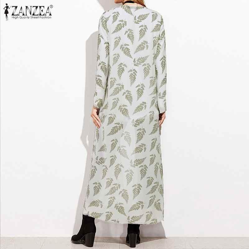 Vrouwen Blouses Shirt Zanzea 2020 Zomer Open Voorzijde Bloemenprint Maxi Vest Bohemian Chiffon Strand Lange Covers Up Plus Size 7