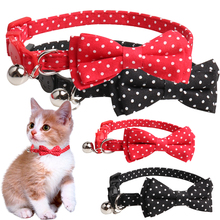 Classic Polka Dot Pets Small Cat Collar Cute Bowknot Necklace Adjustable Bow Tie Puppy Dogs Bells Dog Accessories D40