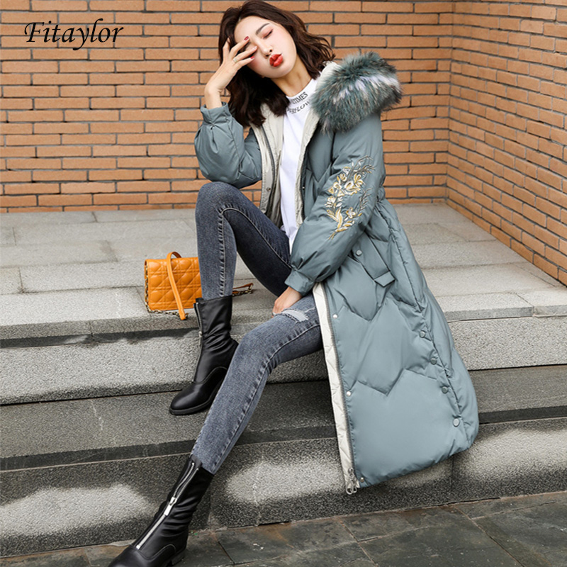 Fitaylor Fox Fur Collar Down Jacket Woman Winter Coat Embroidery Floral Hooded White Duck Down Parkas Coat Warm Snow Outwear