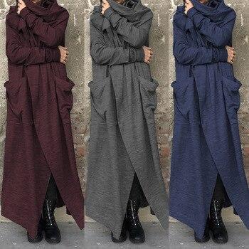 ZANZEA Vintage Women Cowl Neck Long Sleeve Jackets Autumn Solid Cardigan Femininas Loose Long Coats Casual Outwear Robe Femme