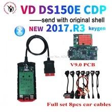 DHL 5 uds/lote VD TCS CDP 2017 R3 keygen V9.0 Junta bluetooth herramienta de diagnóstico para delphis vd ds150e cdp + 8 Uds coche cables envío rápido