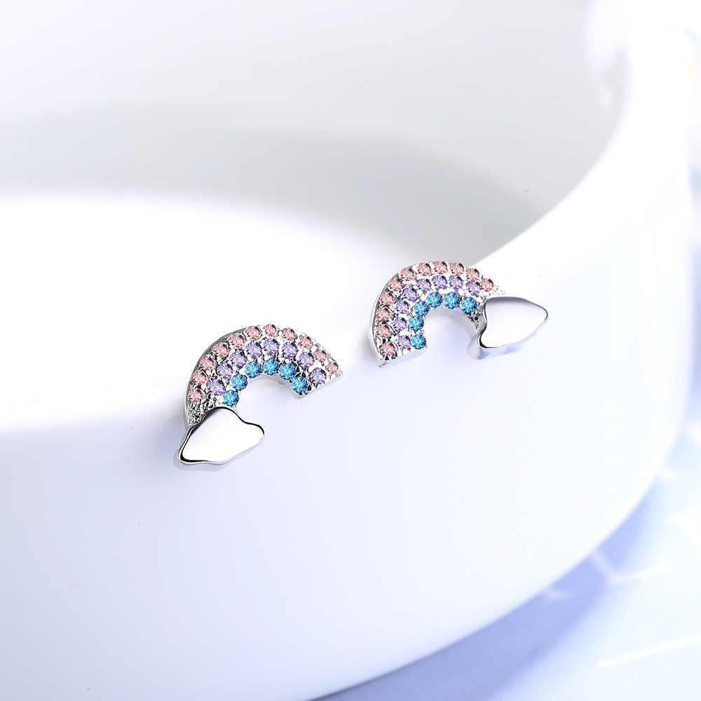 925 Sterling Silver Cristallo Arcobaleno Orecchini con perno Per Le Donne di Nozze di Fidanzamento di natale Pendientes Gioielli eh1301