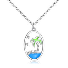 Cute Plant Necklace Women Kawaii Blue Sea Coconut Tree Pendant Necklaces Crystal Woman Silver Beach Jewelry Holiday Party Gifts