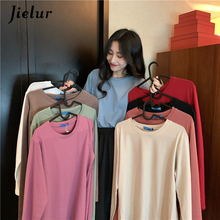 Jielur Solid Color T-shirt Long Sleeve Autumn T Shirt Women 2019 New Tee O-neck Femme Tops Hipster Ladies Tshirt One Size