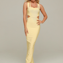 Neue 2020 Sexy Cut Out Gelb Maxi Lange Bodycon Verband Kleid Designer Mode Elegante Abend Party Kleid Vestido