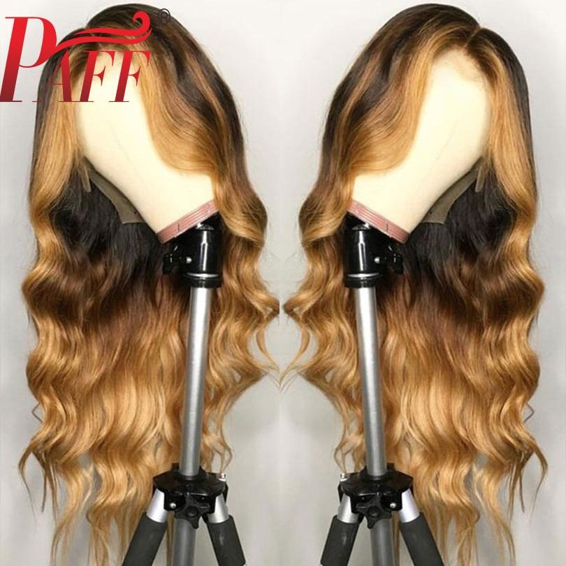 PAFF 13*6 partie profonde vaga de corps avant de lacet perucas de cheveux humains évidence mettre en la couleur 180Desnity