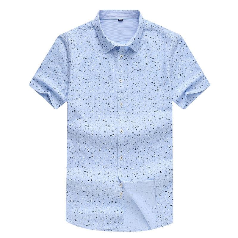 100% Cotton Big Size 8XL And Tall Summer Big Print Casual Short Sleeve Shirt  Business Shirt Plus Size Fertilizer Code  Lapel