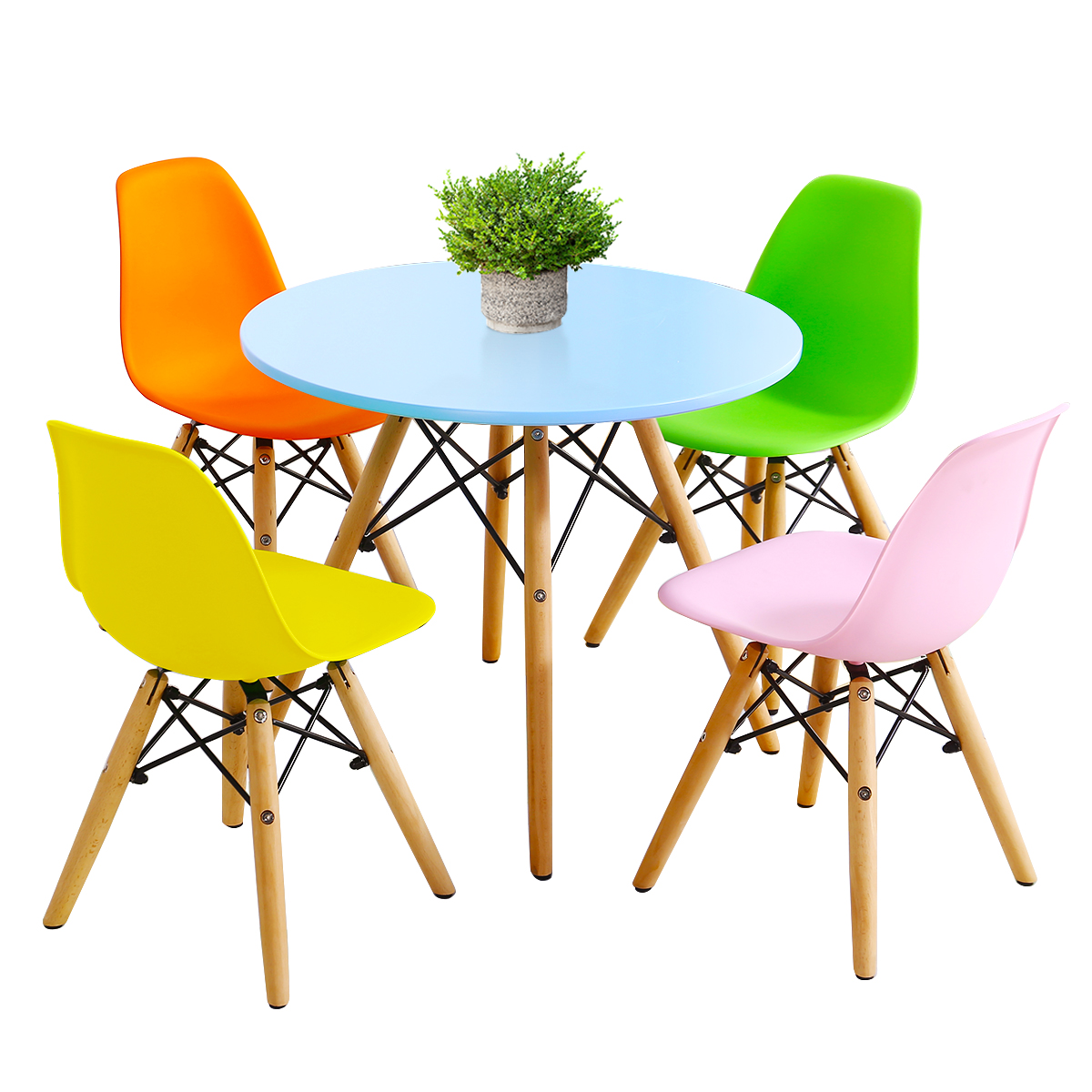 Kids Table &Chair Set Simple Mid-Century Dining Play Table W/ 5Chairs Toddle