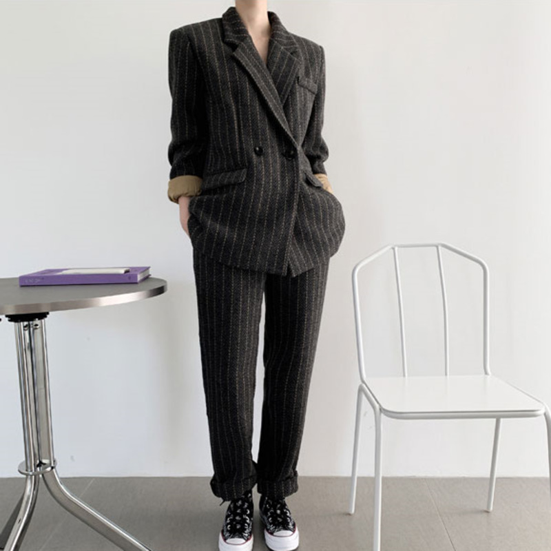 LANMREM Striped Long-sleeved Double-breasted Wool Blazer Woman High Waist Trousers Suit Simple Fashion 2019 Winter New TV479